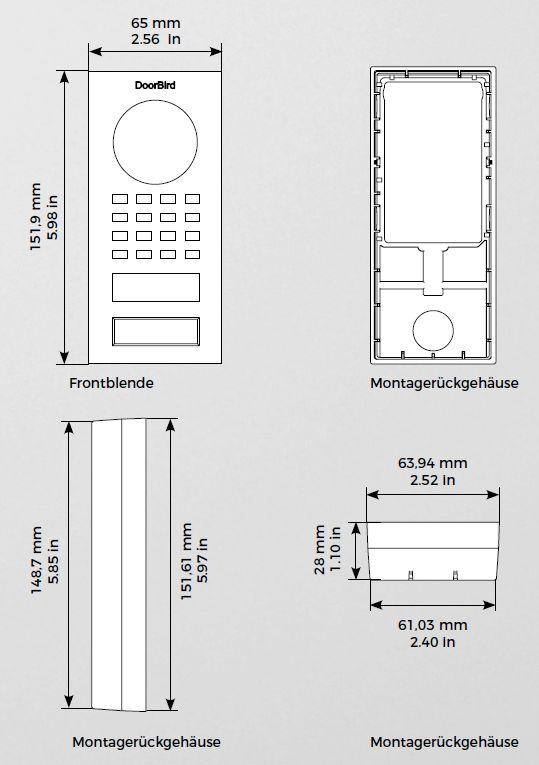 Abmessungen Doorbird D1101V Aufputz