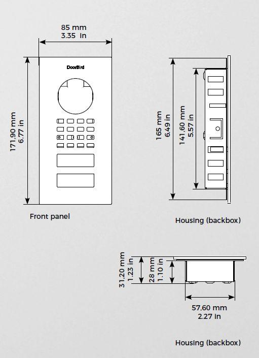 Abmessungen Doorbird D1101V Unterputz