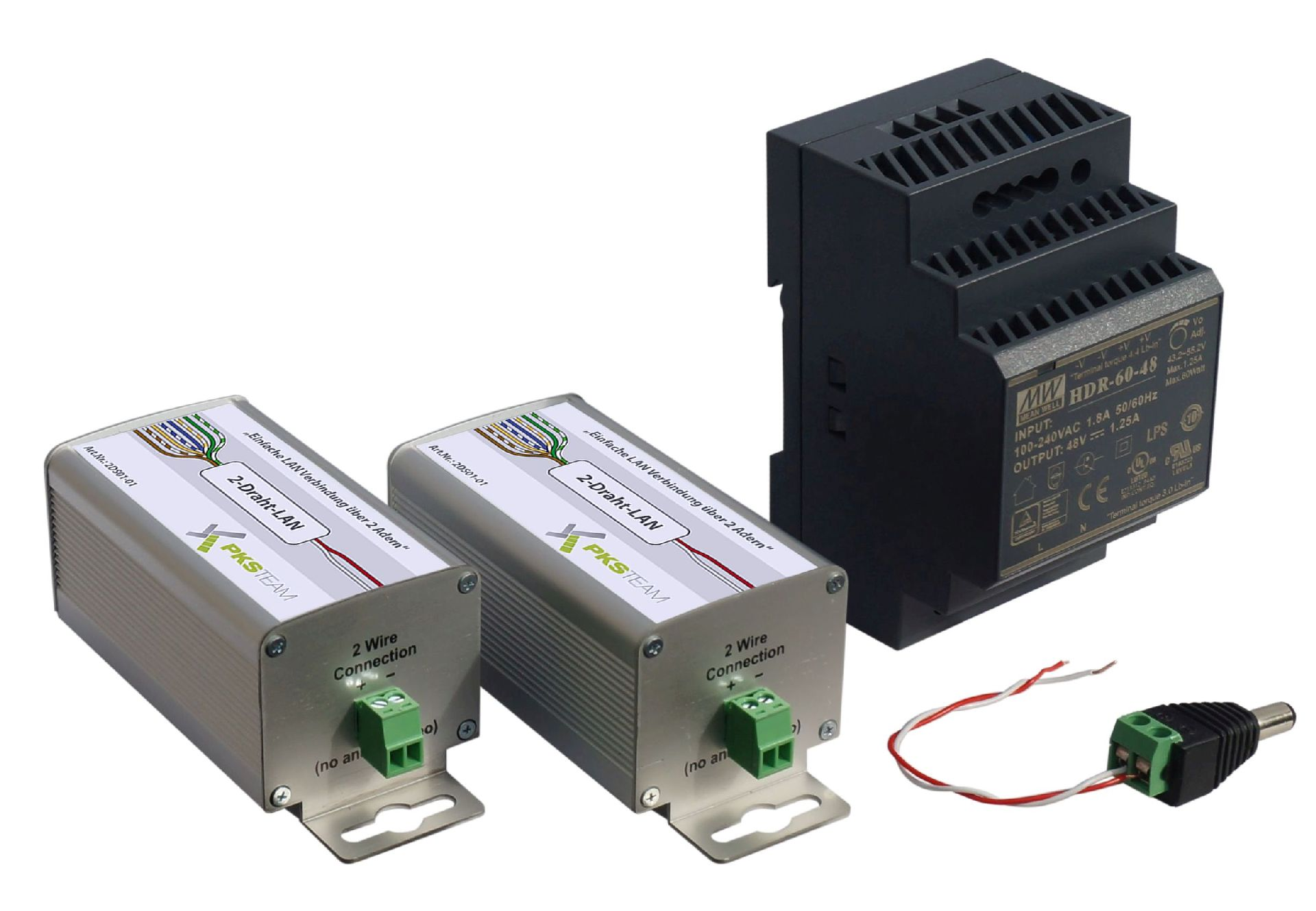 2-Draht-Netzwerk-Adapter mit PoE - 2-er Set mit Netzteil
